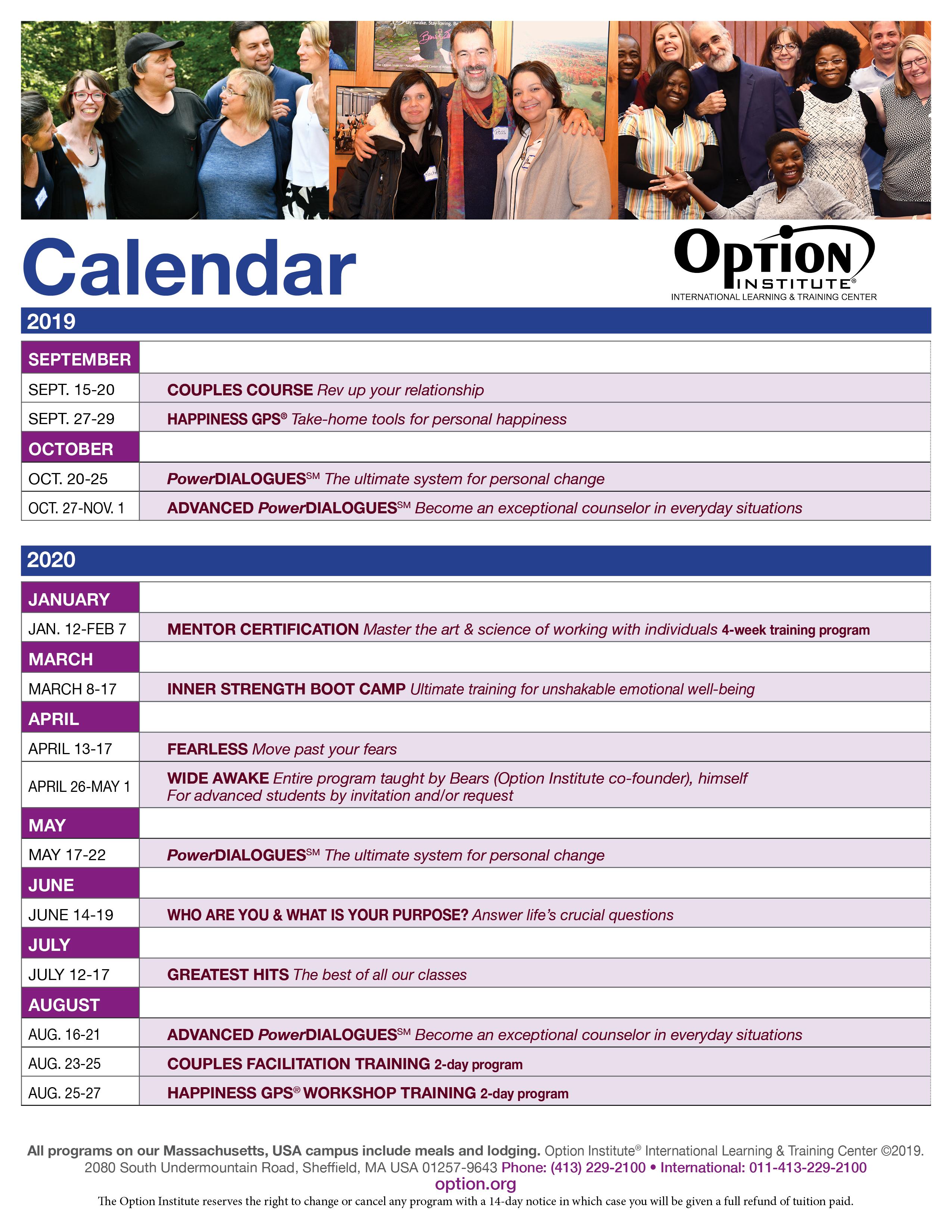 Events In Massachusetts August 25 2020.Option Institute Printable Program Calendar